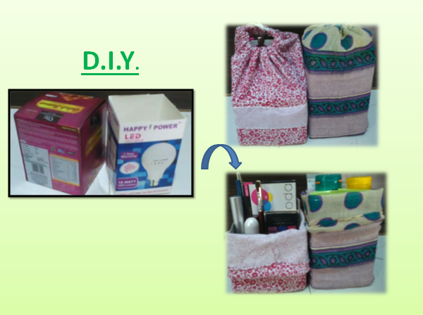 Reuse Old box and cloth into Drawstring box bag diy