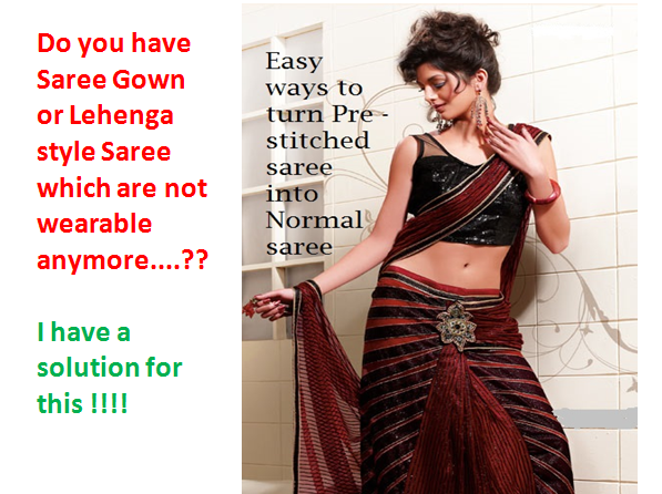 Easy way to turn Pre pleated or stitched saree into normal saree